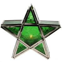 Lantern, star shape green, 17cm