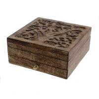 Jewellery box, mango wood, tree design 15.5x15.5x7cm