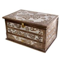 Jewellery box with drawers, wood butterfly and leaf
