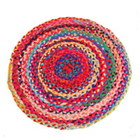 Rag rug, round recycled polyester, 60cm diameter