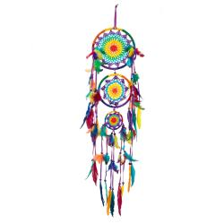 Dreamcatcher rainbow 3-tier multicoloured feathers