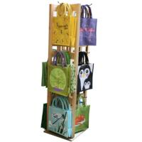 144 jute shopping bags with wooden display stand