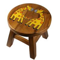 Child's wooden stool, giraffes