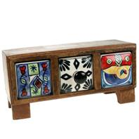 Wooden mini chest, 3 ceramic drawers