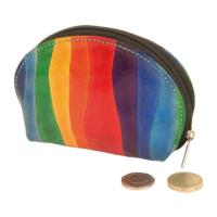 Leather zip coin purse rainbow