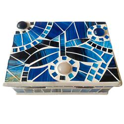 Jewellery box mosaic blue