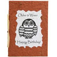 Birthday card, owl, brown