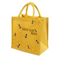 Jute shopping bag, yellow Save Our Bees