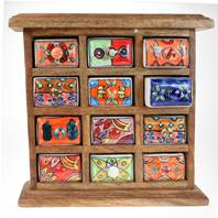 Wooden mini chest, 12 ceramic drawers