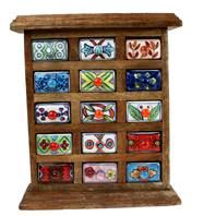 Wooden mini chest, 15 ceramic drawers