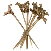 Set of 10 bamboo skewers, tied bird head