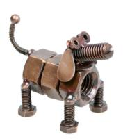 Model dog, recycled nuts and bolts
