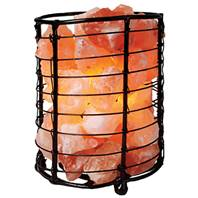 Salt lamp with salt chips in metal cylinder 17cm