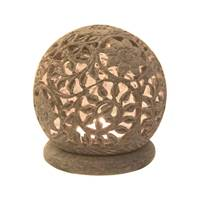 Soapstone t-lite holder round, flowers and leaves design