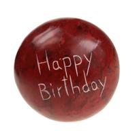 Sentiment pebble round, Happy Birthday, red