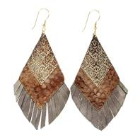 Earrings feather style brown