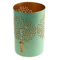 T-lite holder, metal die cut, turquoise tree, 15cm height