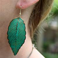 Earrings, turquoise large leaves