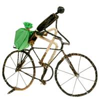 Model bike, cyclist with cloth bag