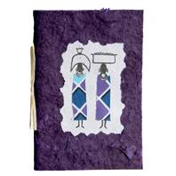 Greetings card, 2 women baskets on heads, purple