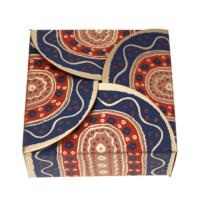 Gift box, brown blue red, 7.5x7.5x3cm