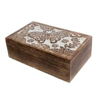 Jewellery box, wood butterfly and leaf
