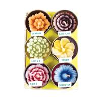 Pack of 6  flower t-lites, multicoloured
