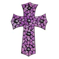 Wood cross mosaic purple 20x30cm