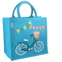 Jute shopping bag, square, bicycle