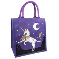 Jute shopping bag, square, unicorn