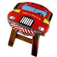 Child's wooden stool, fire truck