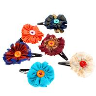 Hairclip, with flower made from recycled fabric, assorted colours