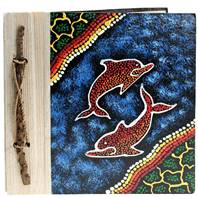 Notebook Aboriginal design dolphins, 20x20cm