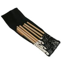 Set of 6 bamboo straws, 1 cleaner in black cotton pouch