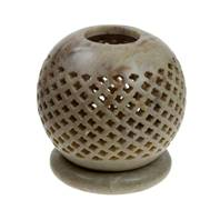Soapstone t-lite holder, sphere