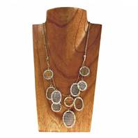 Necklace, circles and ovals, mesh