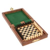 Wooden mini travel chess set 10x10cm