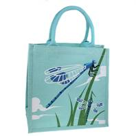 Jute shopping bag, square, dragonflies