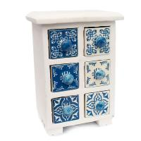 Wooden mini chest blue & white, 6 ceramic drawers