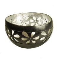 Coconut bowl silver colour lacquer inner 13x8cm