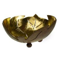 Coconut bowl gold colour lacquer inner, leaf design