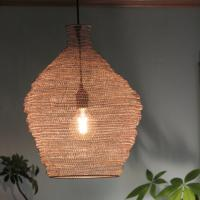 Wire lampshade with silver coloured rings