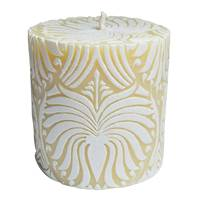 Candle lotus flower white + ivory, 7.5cm flat