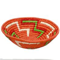 Raffia fruit basket, orange base, 24cm