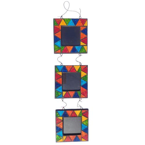 "Hanging triple photo frame, mosaic, 3x3"" photos"
