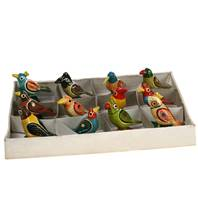 Painted wooden birds, assorted 4cm