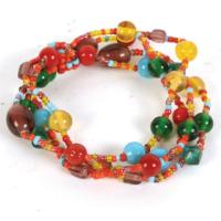 Bracelet multicoloured glass bead 4 string