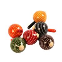 Spinning top round stripes asst colours