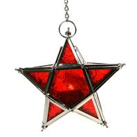Lantern, star shape red, 17cm with chain