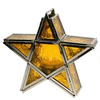 Lantern, star shape yellow, 17cm